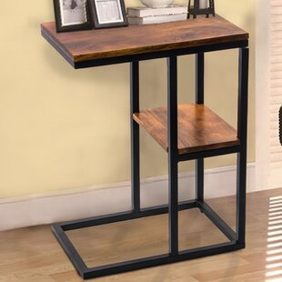 Uppingham Iron Framed Mango Wood End Table by Gracie Oaks