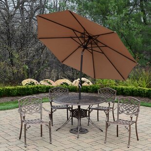 Oakland Living Capitol Mississippi 5 Piece Dining Set with Umbrella