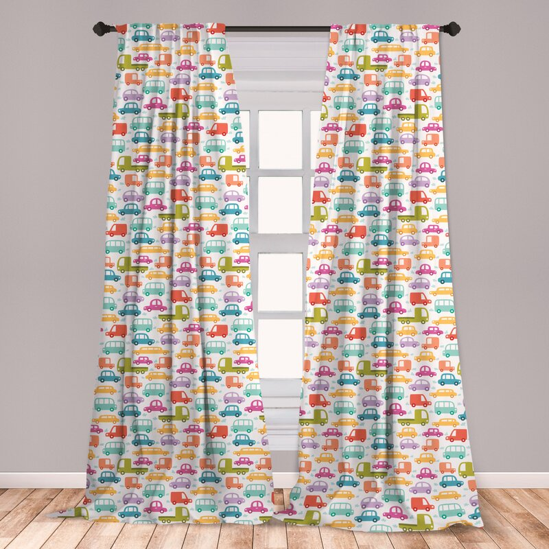 Ambesonne Cars Window Curtains
