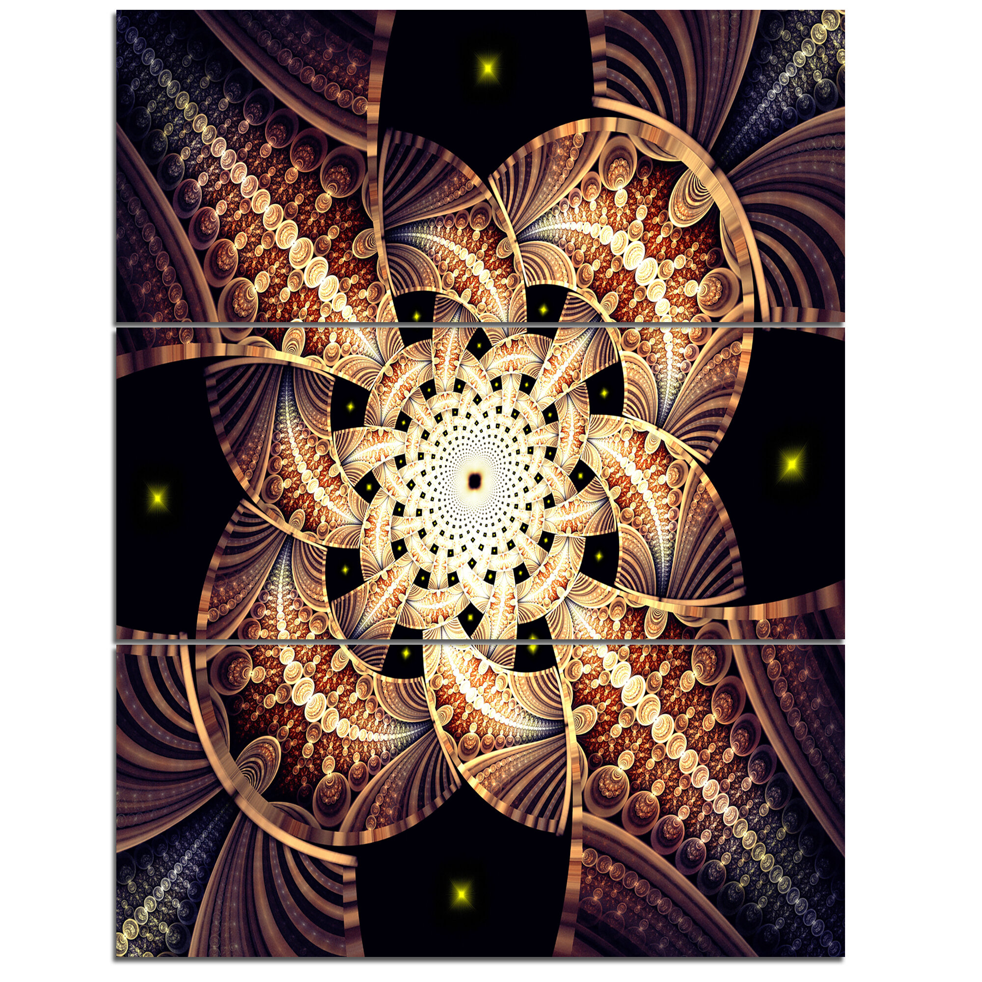 Designart Symmetrical Yellow Brown Fractal Flower 3 Piece Graphic Art On Wrapped Canvas Set Wayfair