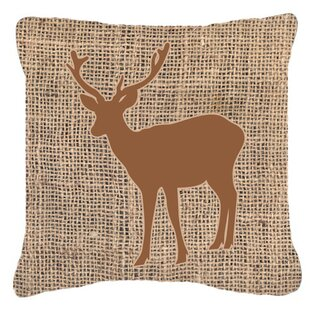 Deer Burlap Square Indoor/Outdoor Throw Pillow