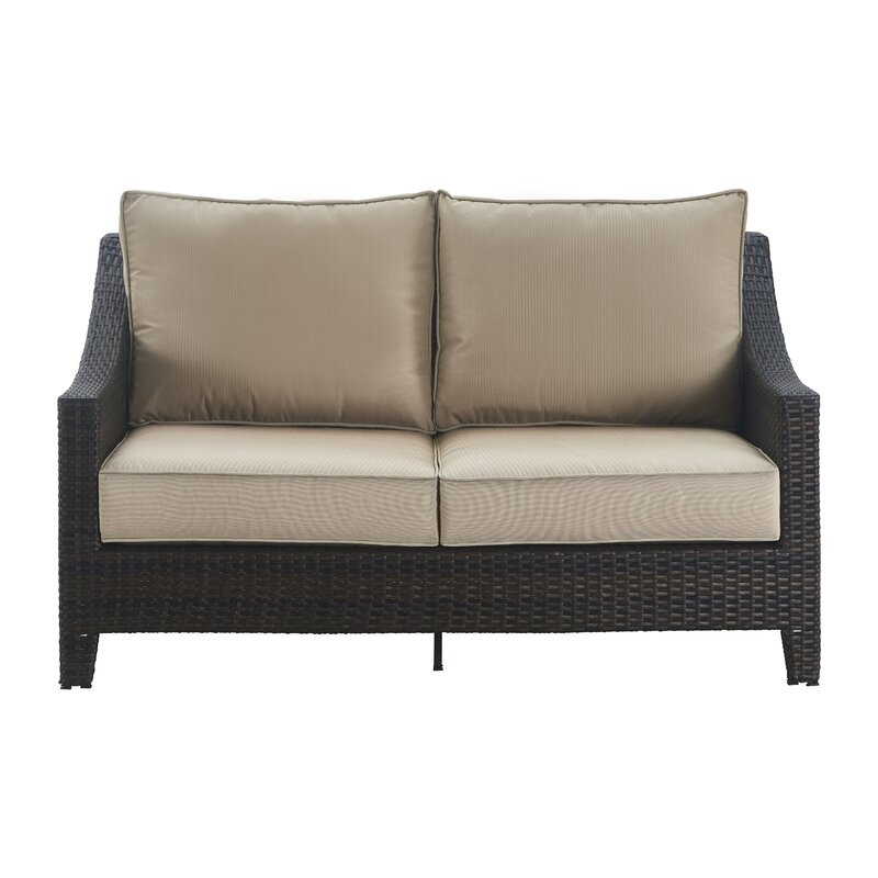 Amazing Tahoe Outdoor Wicker Loveseat With Cushions