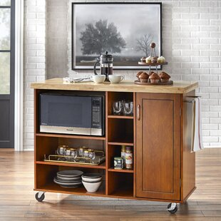 Amlie Kitchen Cart Solid Wood by Red Barrel Studio