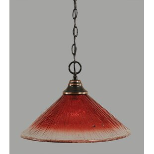 Red Barrel Studio Chinook 1-Light Bowl Pendant in Raspberry Crystal Glass