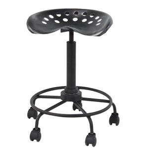 Steelton Modern Iron Adjustable Height Bar Stool With Wheels