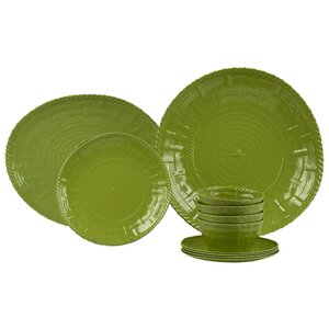 Woven Melamine 14 Piece Dinnerware Set, Service for 4