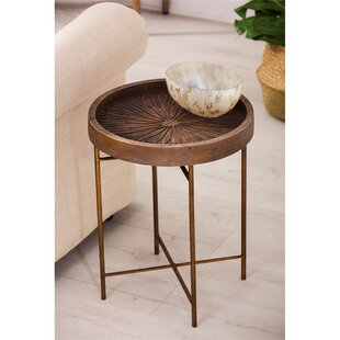 Bungalow Rose Maidenstone Wood Carved End Table