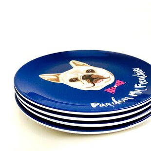 Theron Pardon My Frenchie Melamine Salad Plate (Set of 4)