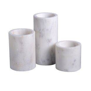 Cylinder Pillar 3 Piece Lady Purple Marble Votive Holder Set