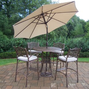 Oakland Living Elite 5 Piece Bar Height Dining Set with Cushions and Umbrella