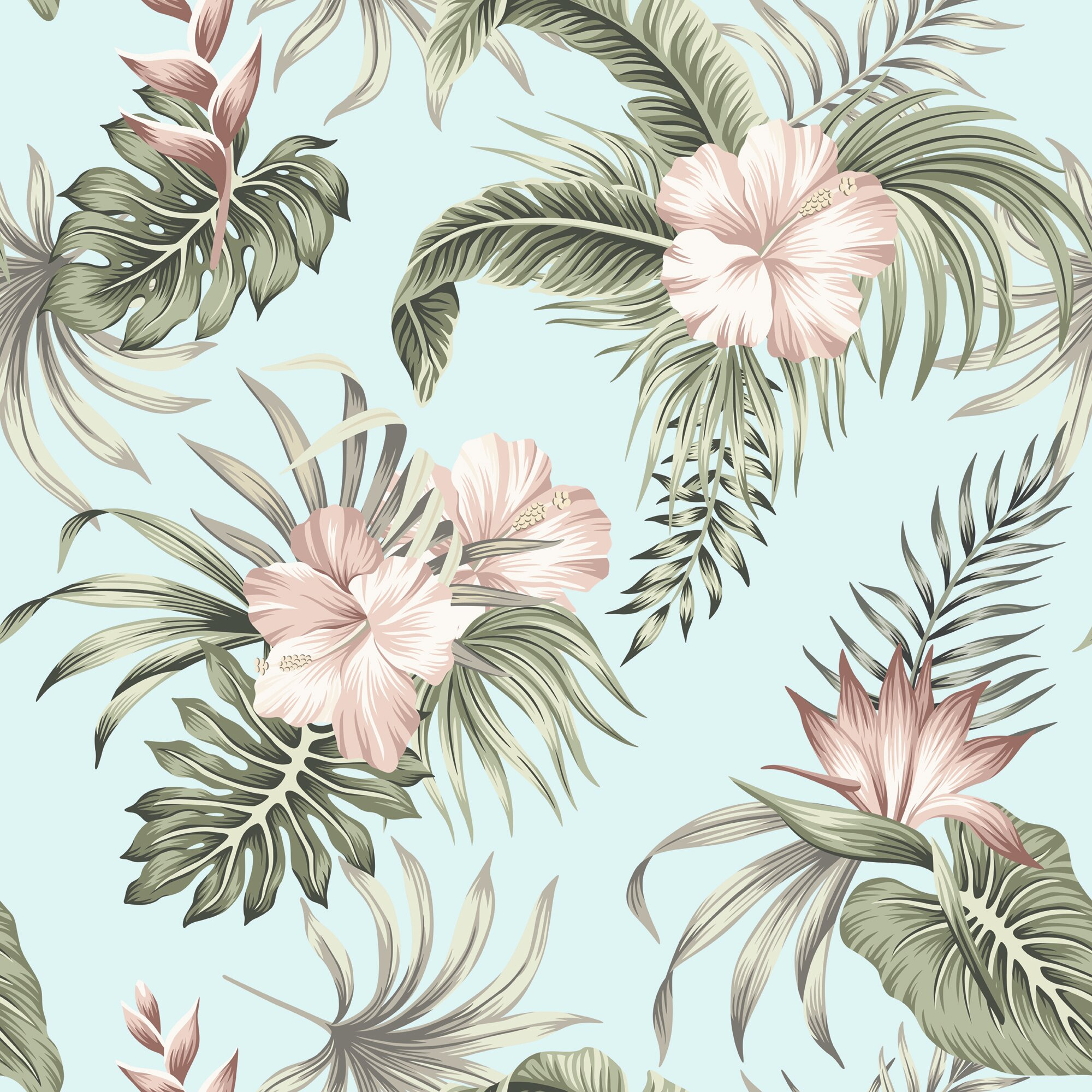 Bay Isle Home Tropical Hibiscus 10 L X 24 W Peel And Stick Wallpaper Roll Wayfair