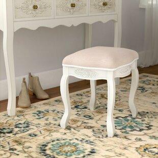 Best Adelinna Hand Carved Antique White Vanity Stool ByOphelia & Co.
