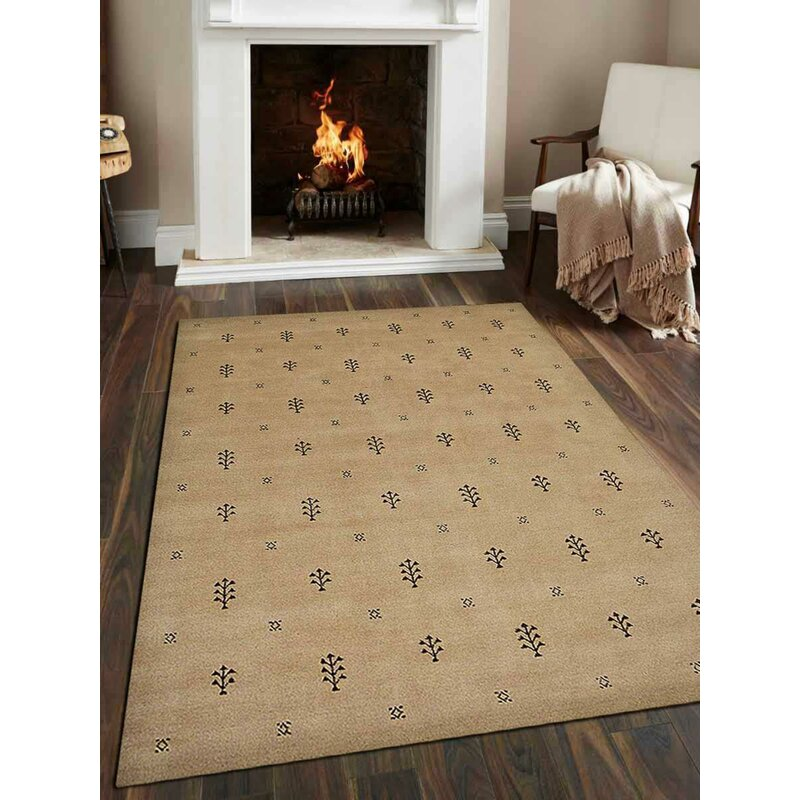 Union Rustic Maggiemae Geometric Hand Knotted Wool Beige Area Rug Wayfair
