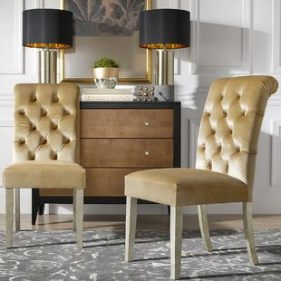 Daina Rolled Top Tufted Solid Wood Dining Chair (Set of 2) Willa Arlo Interiors