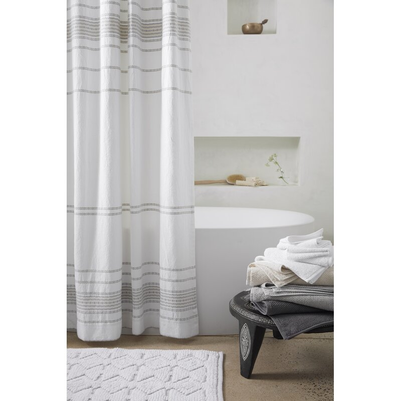 Rippled Stripe Organic Cotton Single Shower Curtain