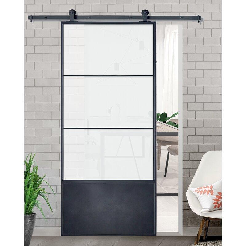 Colonial Elegance Glass Barn Door With Installation Hardware Kit Reviews Wayfair Ca