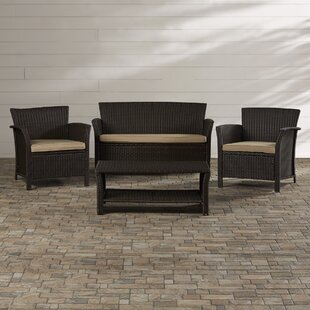 Brassard 4 Piece Rattan Sofa Set with Cushions