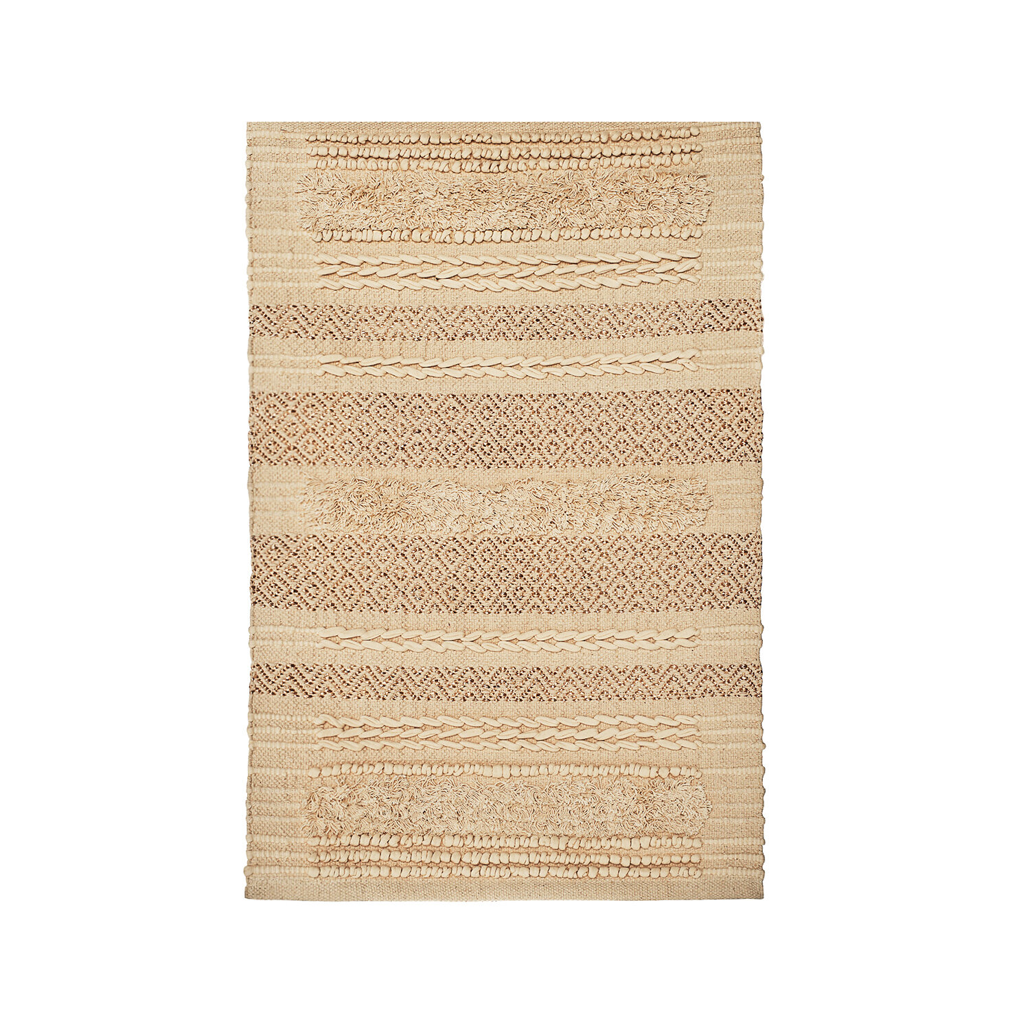 Union Rustic Area Rug Hand Woven Knotted Cotton Gold Thread Boho Throw Natural Color Environment Friendly 3 5