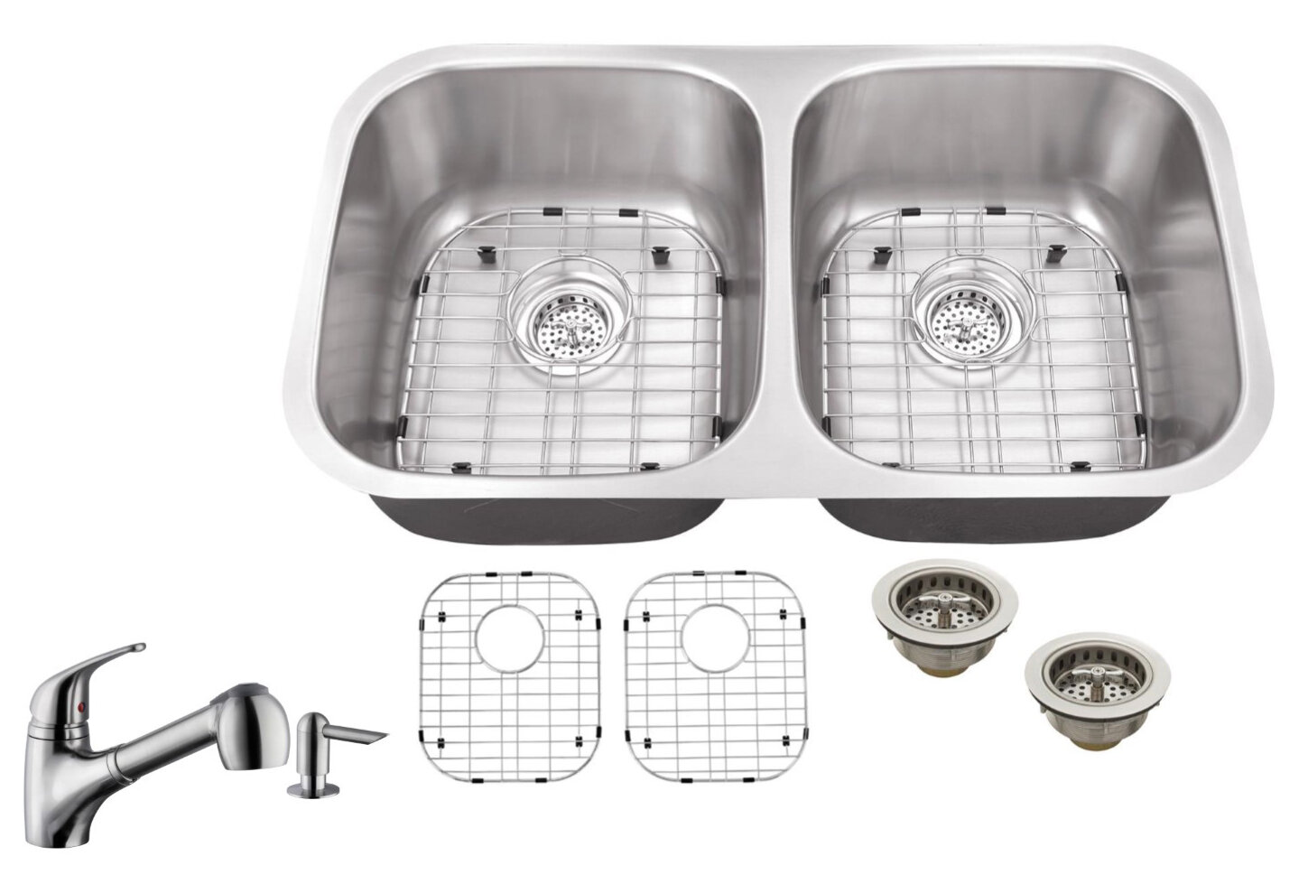 Ss2918p5828 18 Gauge Stainless Steel 29 13 L X 5 W Double Basin Undermount Kitchen Sink With Low Profile Pull Out Faucet