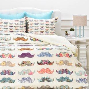 East Urban Home Mustache Mania Duvet Cover Set