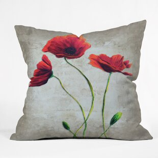 Vibrant Poppies I Throw Pillow by East Urban Home Amazing