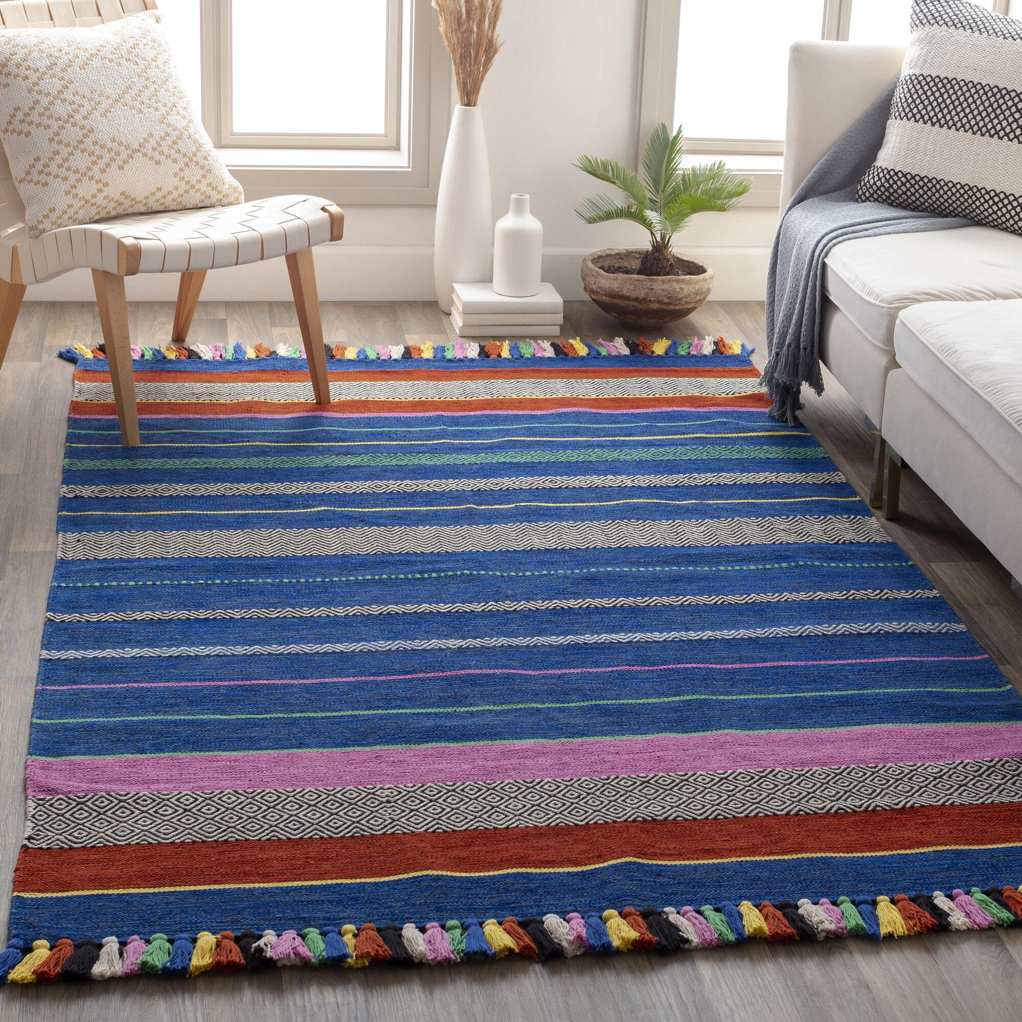 Loon Peak Lerma Striped Handmade Flatweave Cotton Bright Blue Area Rug Wayfair
