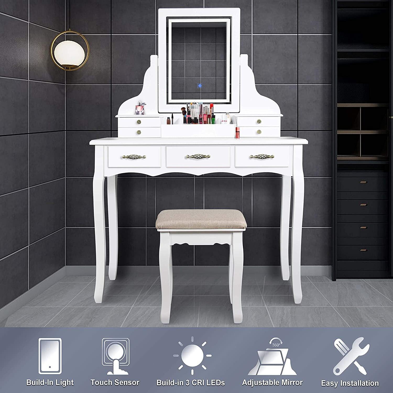 House Of Hampton Gassett Led Vanity Set With Stool And Mirror Wayfair