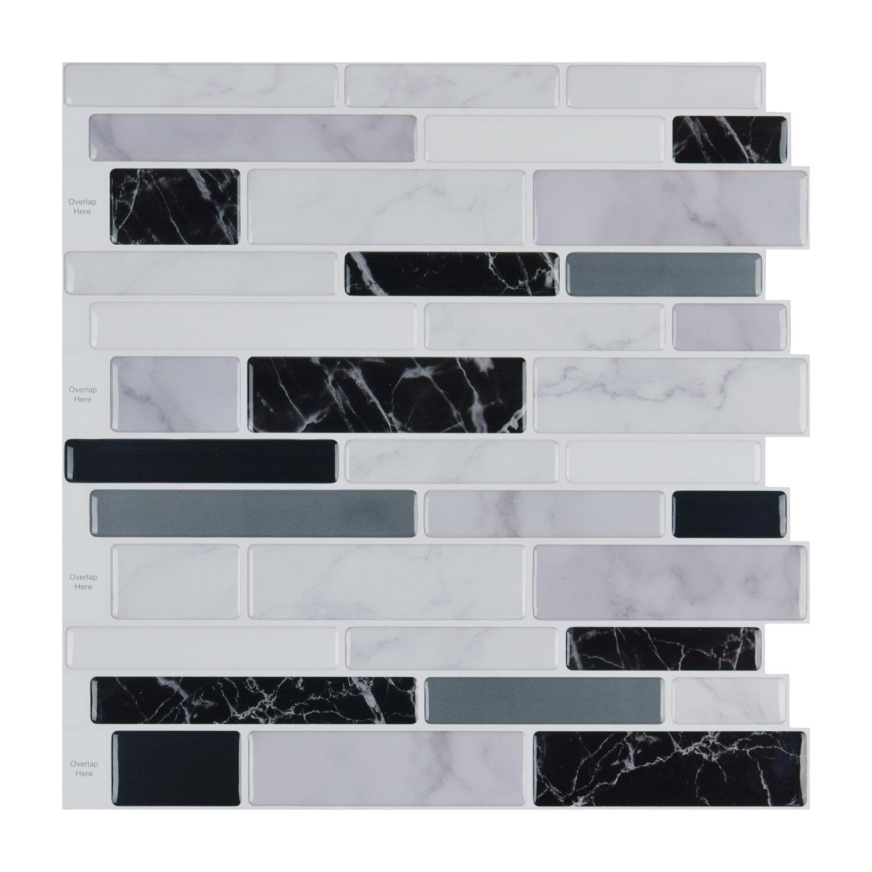 - Art3d Peel And Stick Tile For Kitchen Backsplash, White, Grey