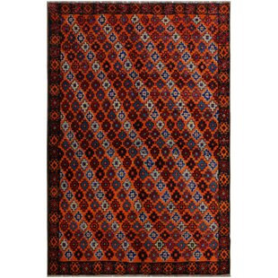 Online Reviews One-of-a-kind Syracuse Hand-Knotted 5'1 x 6'8 Wool Orange/Black Area Rug By Isabelline