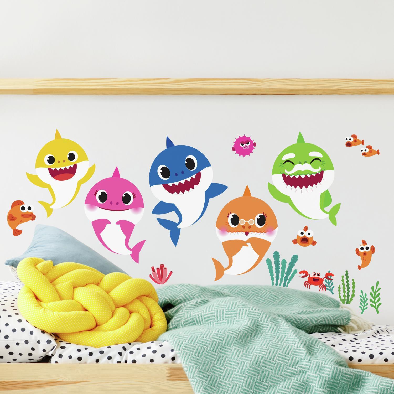Large Shark Initial Name Wall Decal Set Boy Bedroom Wall Sticker Shark Wall Decal