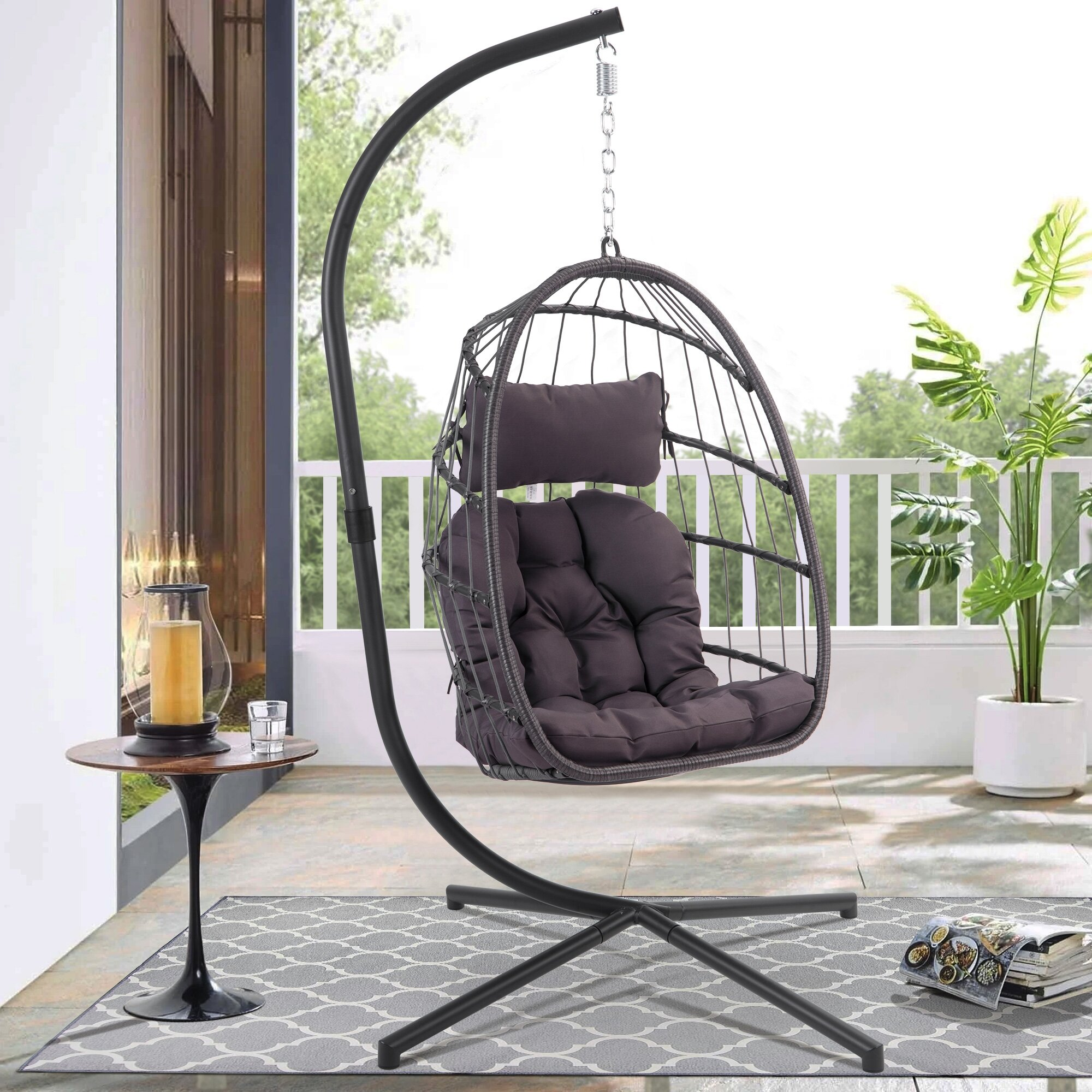 Black Indoor And Outdoor Use Collapsible Hanging Hammock Chair Stand Portable Dawsons Living Hanging Egg Chair Stand Garden Furniture Accessories Hammocks Swing Chairs Accessories
