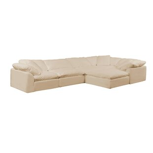 Caitlynne Slipcovered Reversible Modular Sectional with Ottoman
