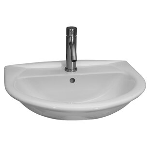 Affordable Karla 450 Vitreous China 18 Wall Mount Bathroom Sink with Overflow By Barclay