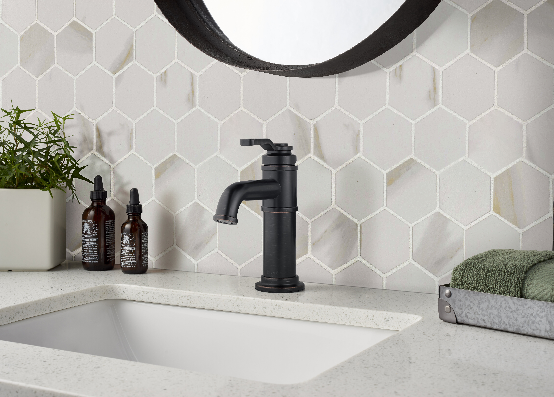 "Calcatta 8"" x 8"" Hexagon Porcelain Mosaic Tile in White"