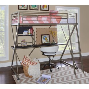 Hedy Four Poster Twin Loft Bed with Bookcase