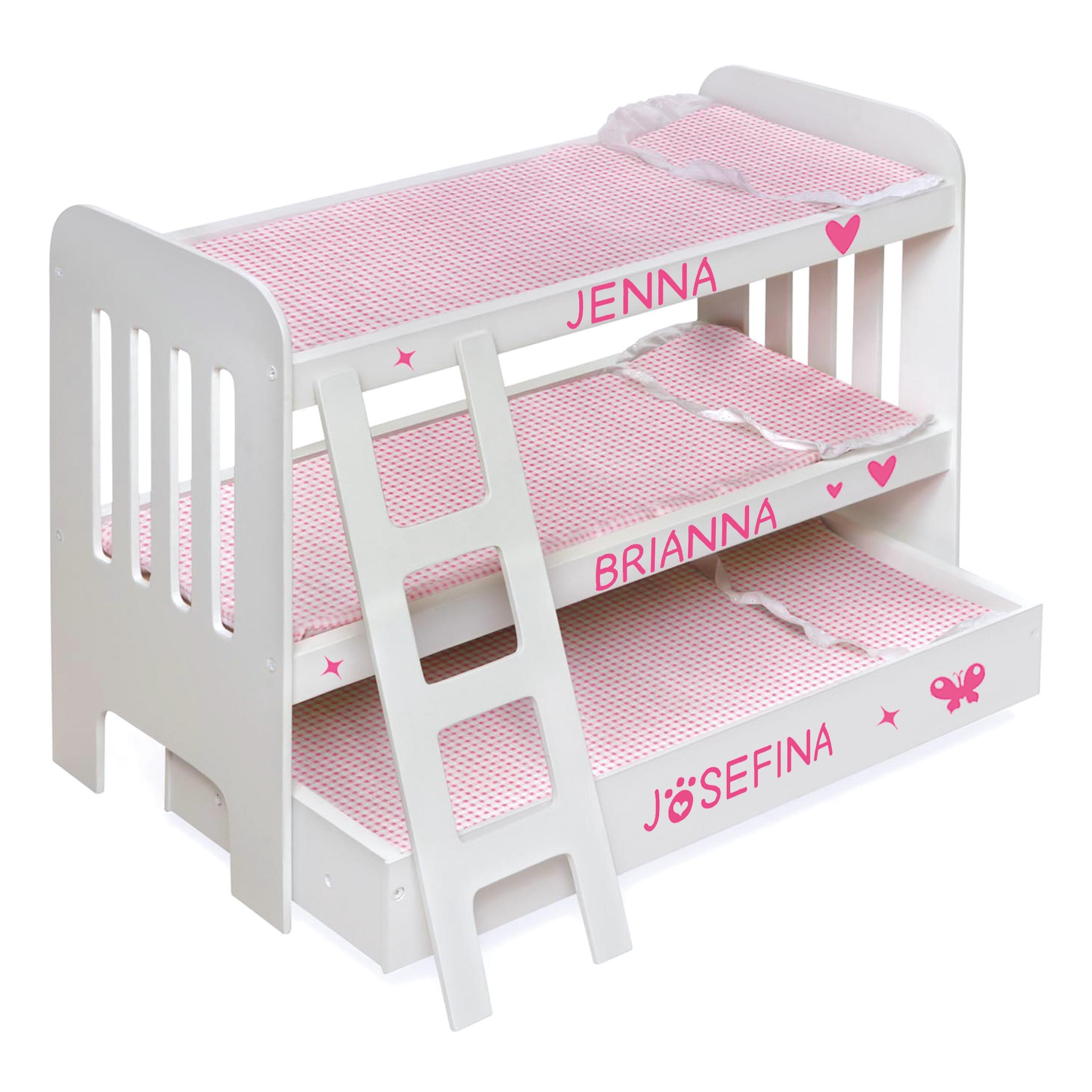 Badger Basket Trundle Doll Bunk Bed With Ladder And Free Personalization Kit White Pink Reviews
