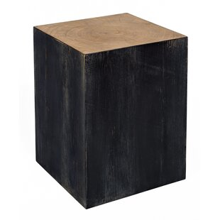 Wooden Pedestal End Table
