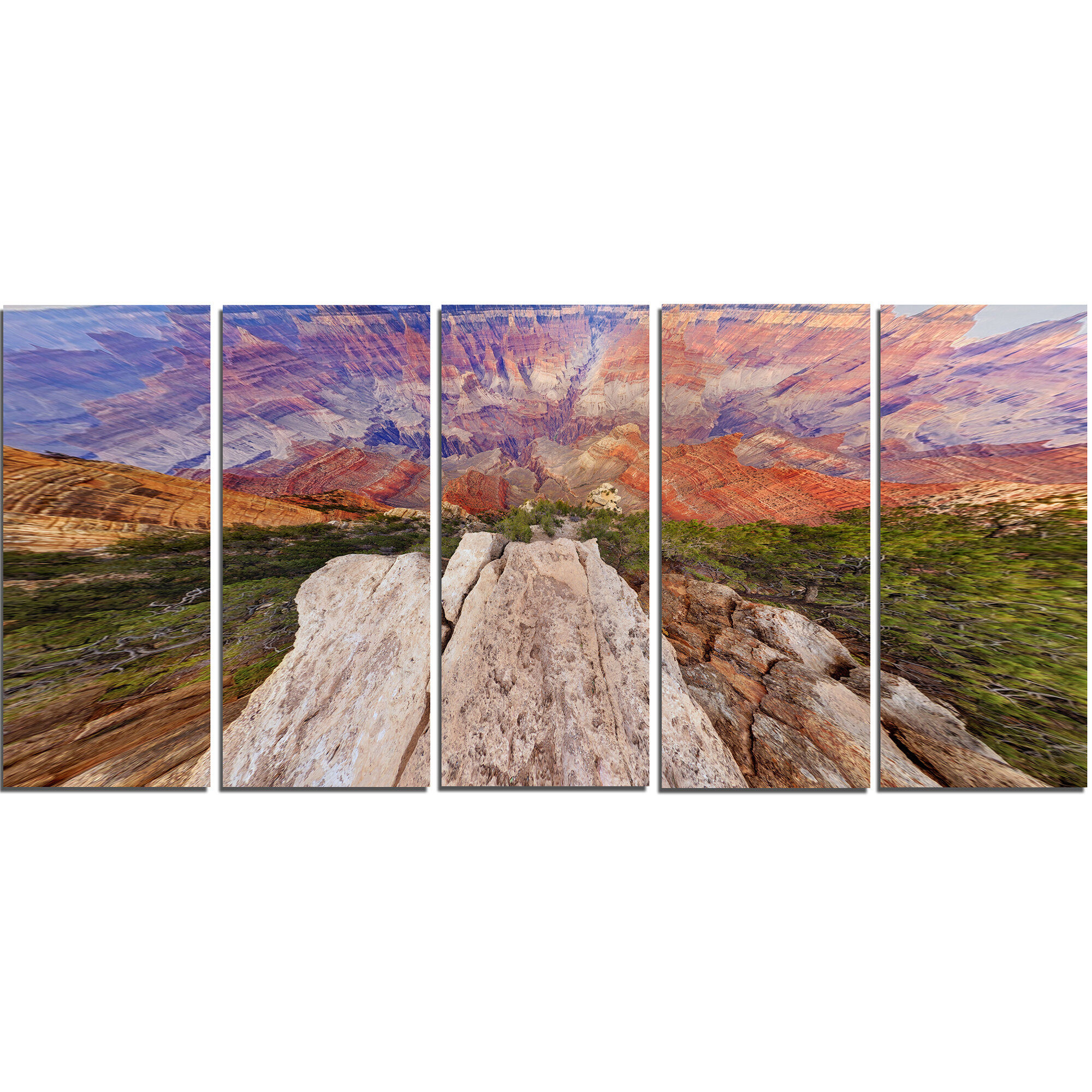 Designart Grand Canyon View From Above 5 Piece Wall Art On Wrapped Canvas Set Wayfair