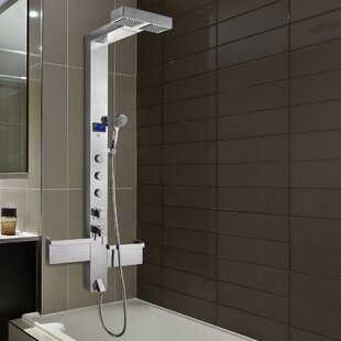 AKDY 3-Jet Shower Panel System with Rainfall Waterfall Shower Head, LED Display and Shampoo Holder