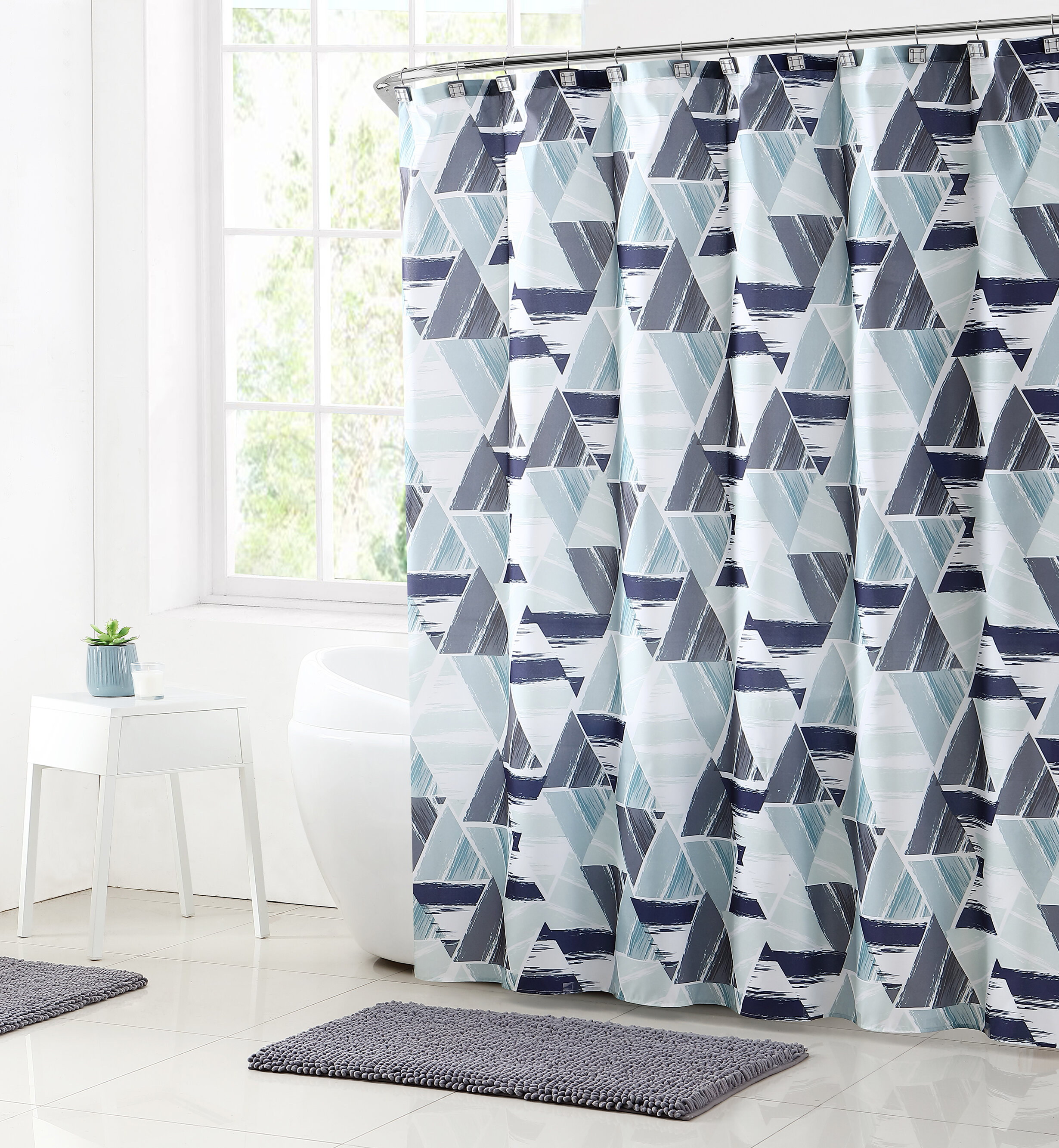 Ivy Bronx Bolinger Modern Mosaic Shower Curtain Set & Reviews   Wayfair