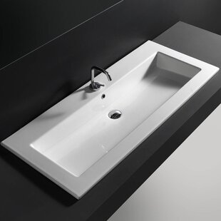 WS Bath Collections Ceramic Rectangular Drop-In Bathroom Sink with Overflow
