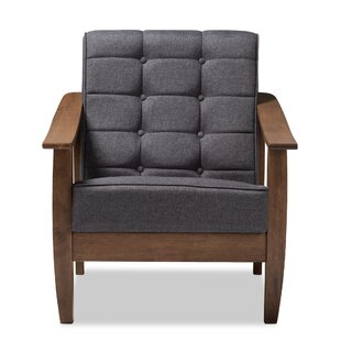 Wrought Studio Pliner Mid-Century Fabric Upholstered Wood Lounge Chair