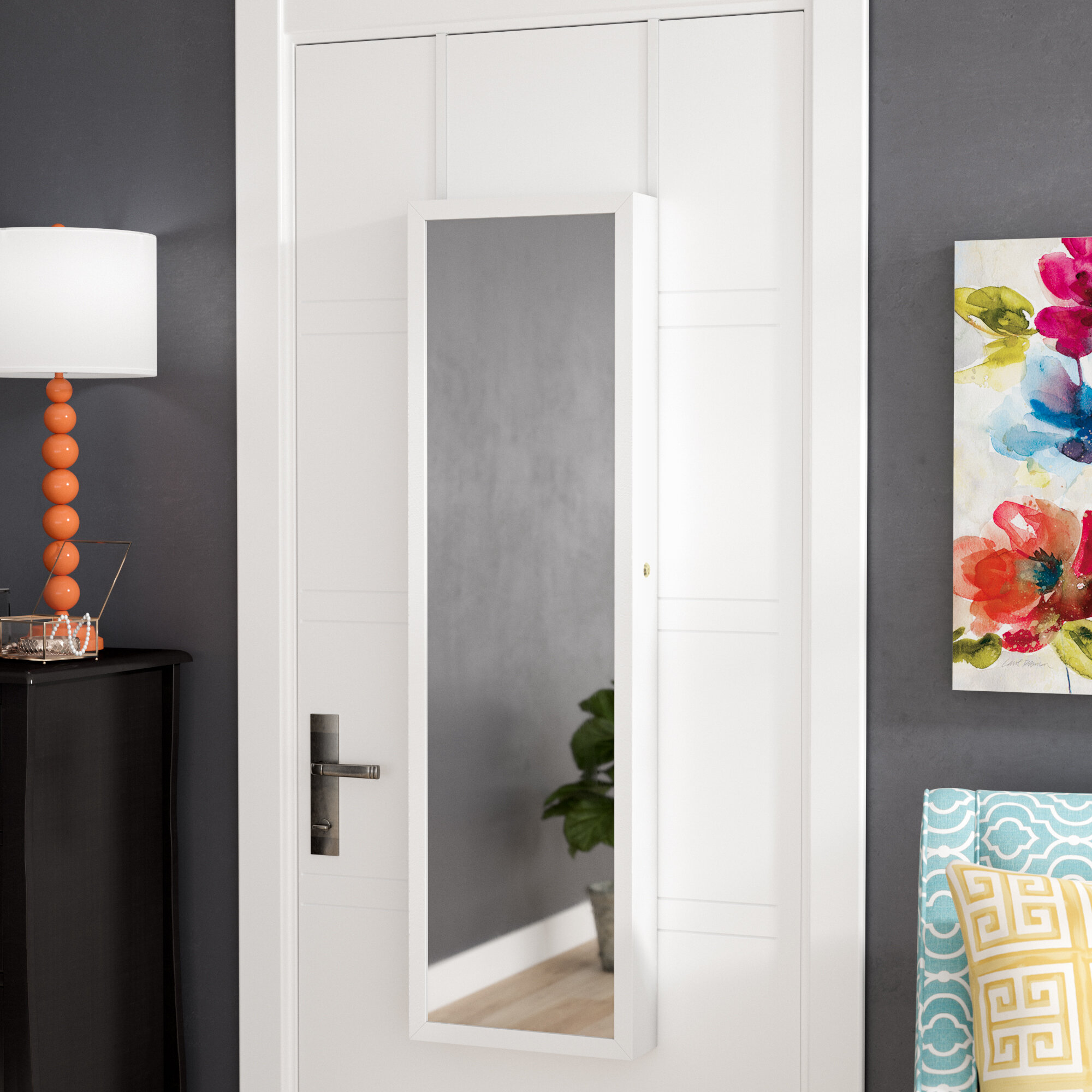 Zipcode Design Bulgera Combination And Makeup Storage Wall Mounted Or Over  The Door Jewelry Armoire U0026 Reviews | Wayfair