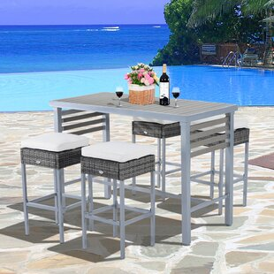 Ebern Designs Rosa 5 Piece Patio Bar Height Dining Set with Cushions