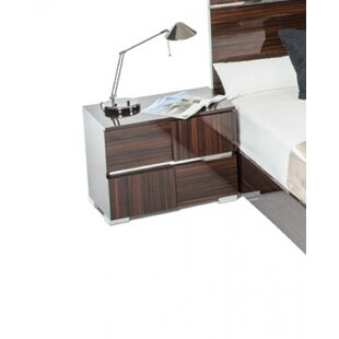 Orren Ellis Falbo Modern 2 Drawer Wood Framed Nightstand