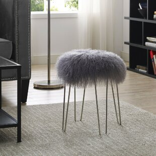 Jeannine Sheepskin Accent Stool by Everly Quinn