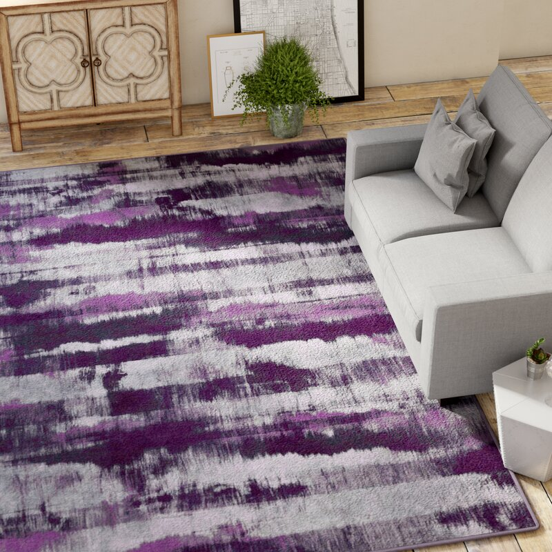 Demetrius Purple Gray Area Rug