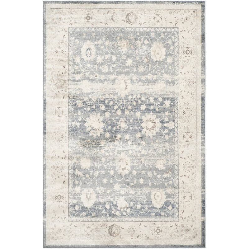 Lark Manor Valmer Dark Blue Cream Area Rug Reviews Wayfair