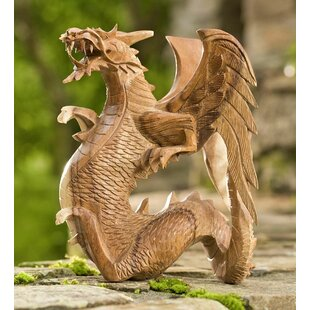 Wind & Weather Hand-Carved Wooden Dragon Statue