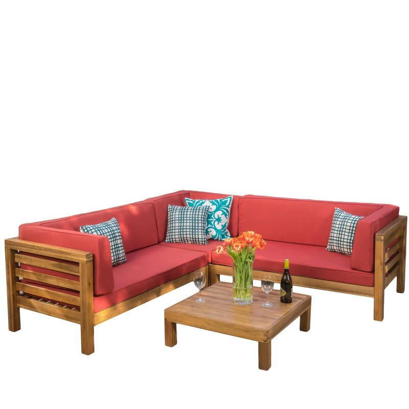 Brayden Studio  Seaham 4 Piece Sectional Set with Cushions